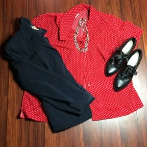 Red &White Polka Dot Blouse  G1